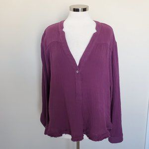 Free People Size Medium Purple Plum Top Shirt